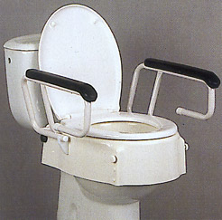 Höhenverstellbarer Toilettensitz mit Armlehne