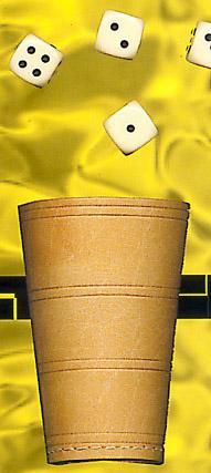 Leder Würfelbecher ca. 12cm hoch mit 6 Würfeln