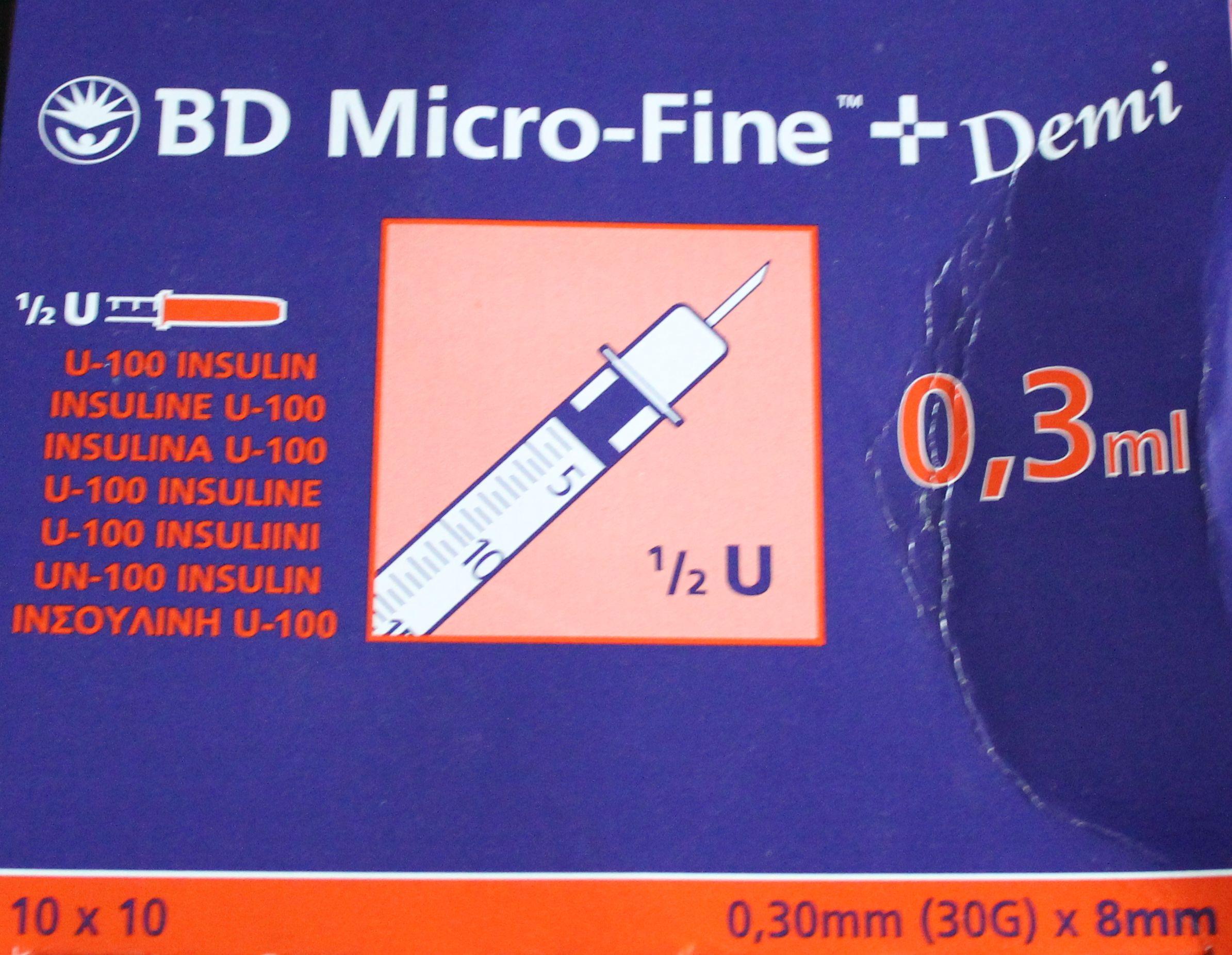 BD Micro-Fine+ Insulinspritzen Demi, 0,3mm (30G) x 8mm, 0,3ml, U 100 Insulin, 100 Stück